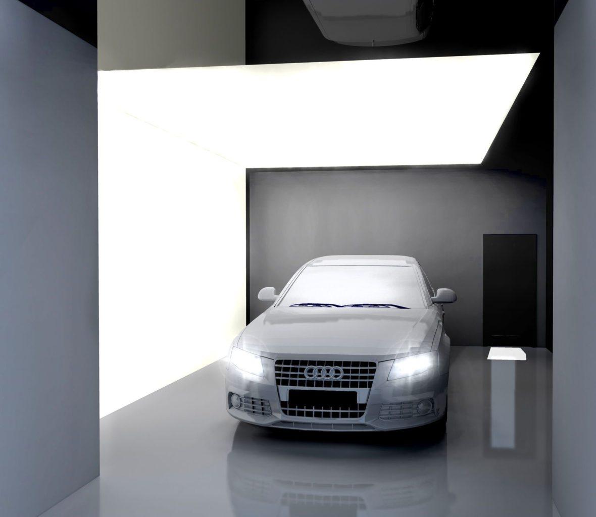 Spanplafond, Showroom, Akoestiek plafond, lichtplafond